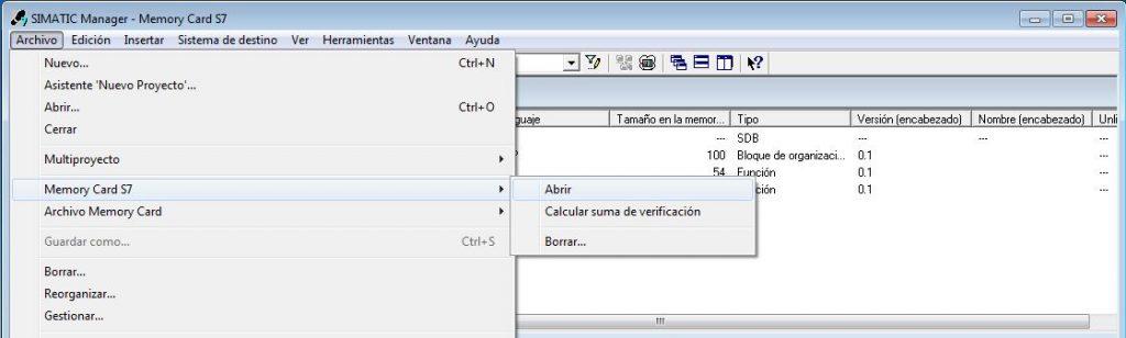 Seleccionar la opción de abrir tarjeta Memory Card MMC.