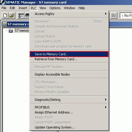 Seleccionar la opción de Guardar en Memory Card.