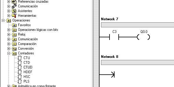 Ejemplo de activación de una salida con el bit del contador.