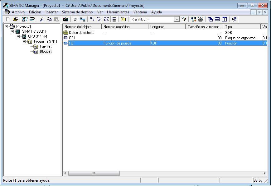 Vista de la Función creada junto con los otros bloques del programa.