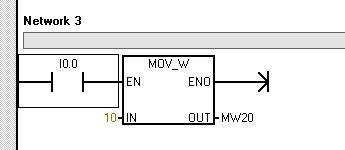 Ejemplo de asignación de un valor tipo constante a un dato de tipo Word.