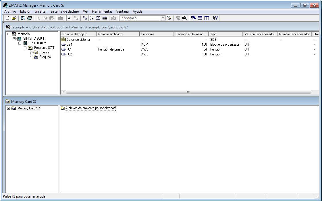 Visualización de los datos transferidos a la tarjeta.