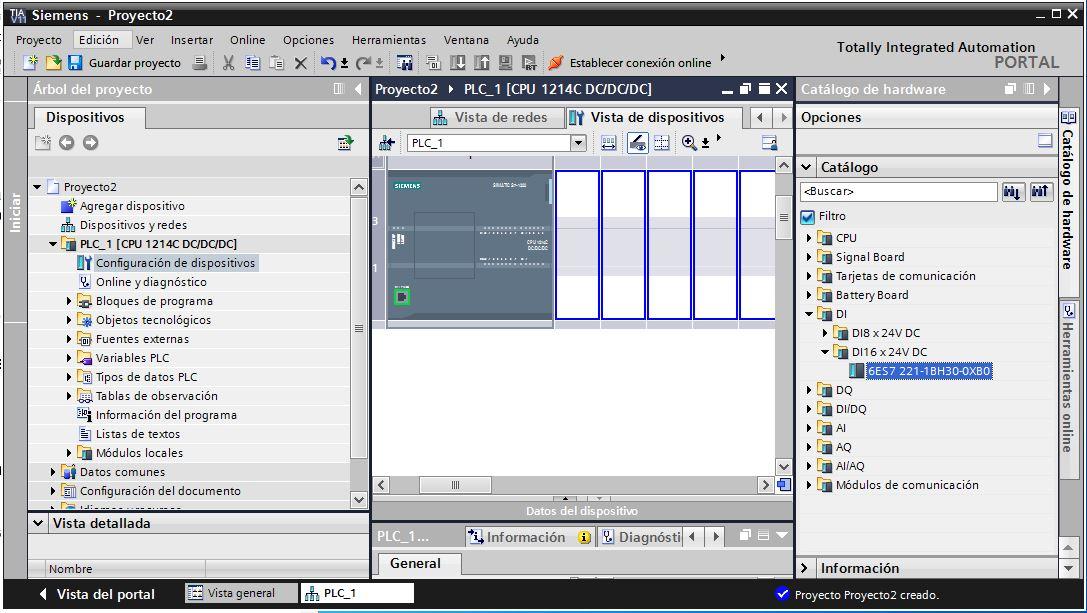 Seleccionar módulo de entradas al crear nuevo proyecto TIA Portal V11