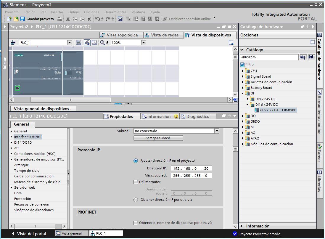 Configuración de la CPU S7-1200 al crear nuevo proyecto TIA Portal V11