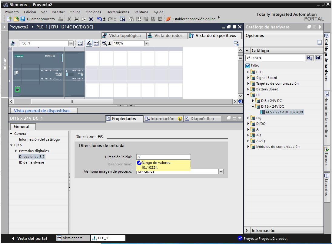 Configuración de entradas y salidas de un módulo en TIA Portal.