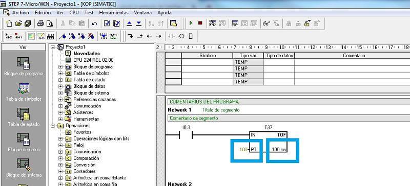 Temporizador TOF en S7-200 configuración y activar MicroWin