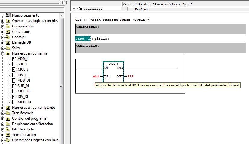 Mensaje error al introducir datos incorrectos en una función.