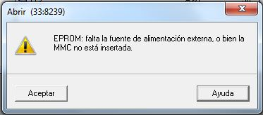 Mensaje de error en el Prommer cuando falta la MMC.