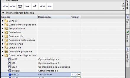 Versión de una instrucción en TIA Portal.