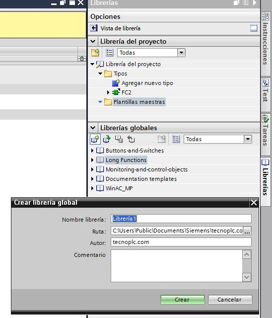 Librería de proyecto en TIA Portal.