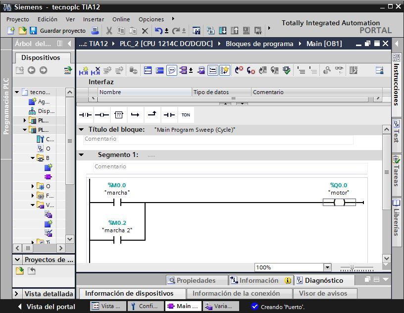 Asignar variables y direcciones en TIA Portal.