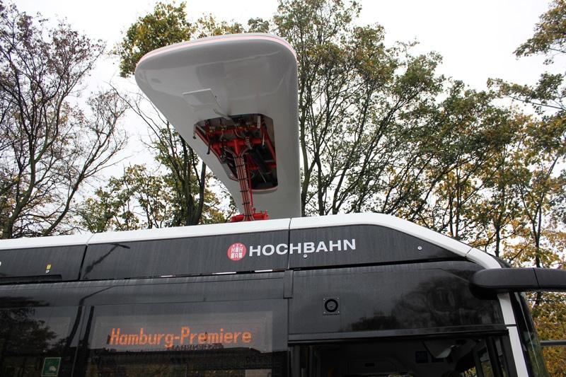 Sistema de carga para autobuses híbridos en Hamburgo.