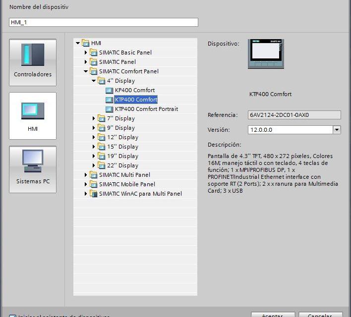 Agregar pantalla HMI al proyecto de TIA Portal.