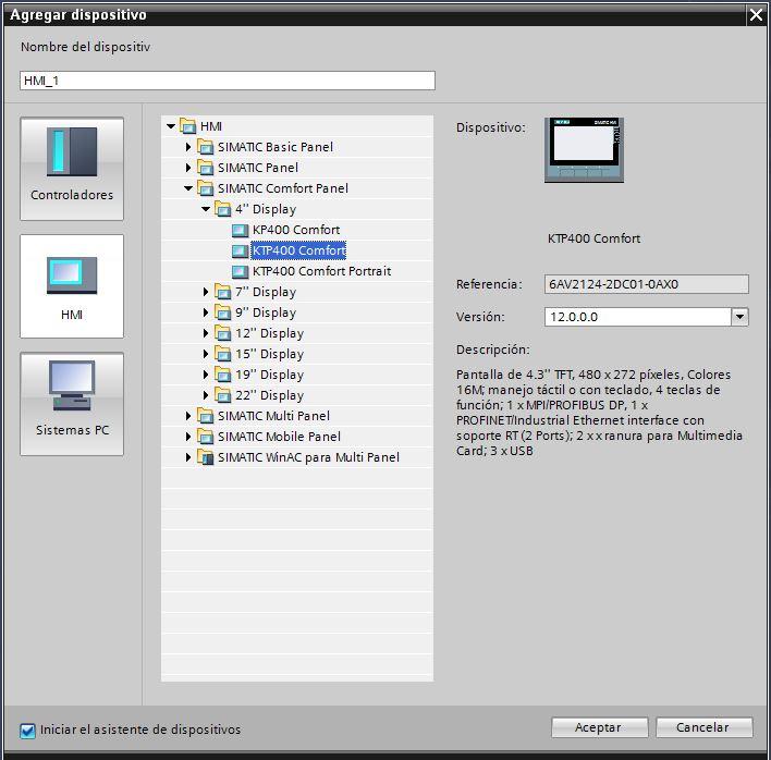 Seleccionar una pantalla HMI KTP400 comfort.
