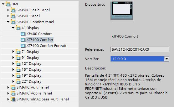 Versión de firmware de la pantalla HMI.