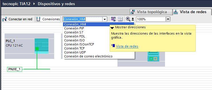 Seleccionar la Conexión HMI.