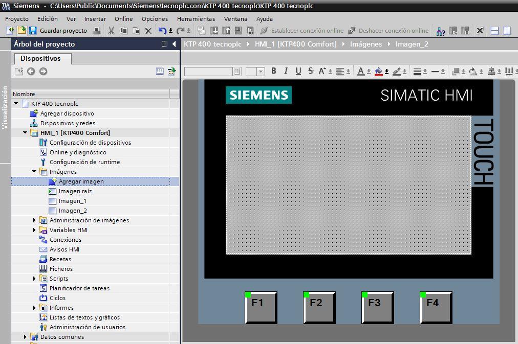 Agregar imagen para incorporar una nueva pantalla HMI al proyecto.