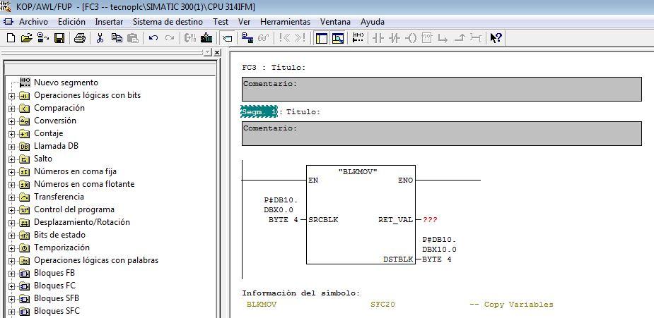 Ejemplo copia de zona de memoria de un bloque de datos.