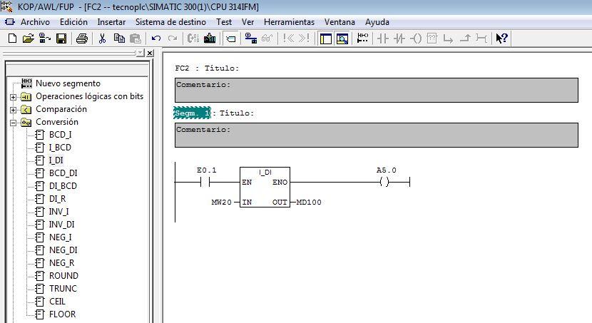 Ejemplo de una conversión INT a DINT.