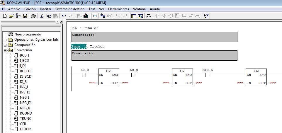 Ejemplos de parámetros de entrada EN de la función.