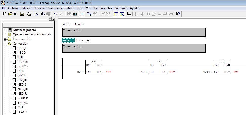 Ejemplos de parámetros de la entrada IN de la función.