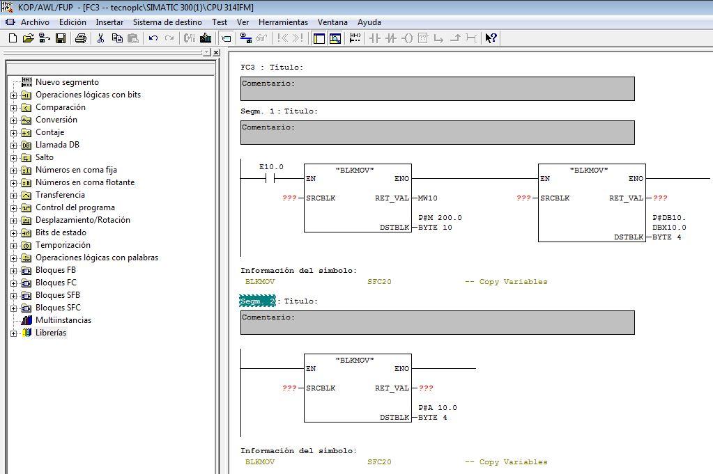 Ejemplo de los tipos de datos permitidos en la salida DSTBLK de la Función BLKMOV.