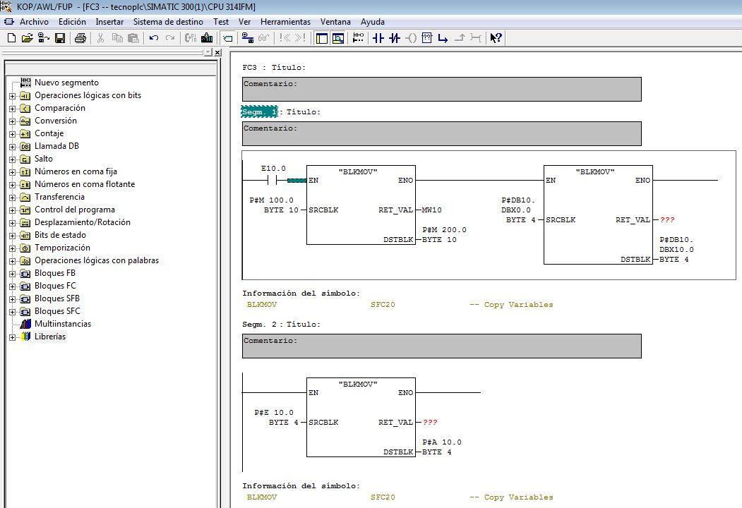Ejemplo para parámetros de entrada SCRBLK de la Función BLKMOV.
