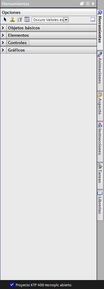 Área de herramientas en WinCC Flexible.