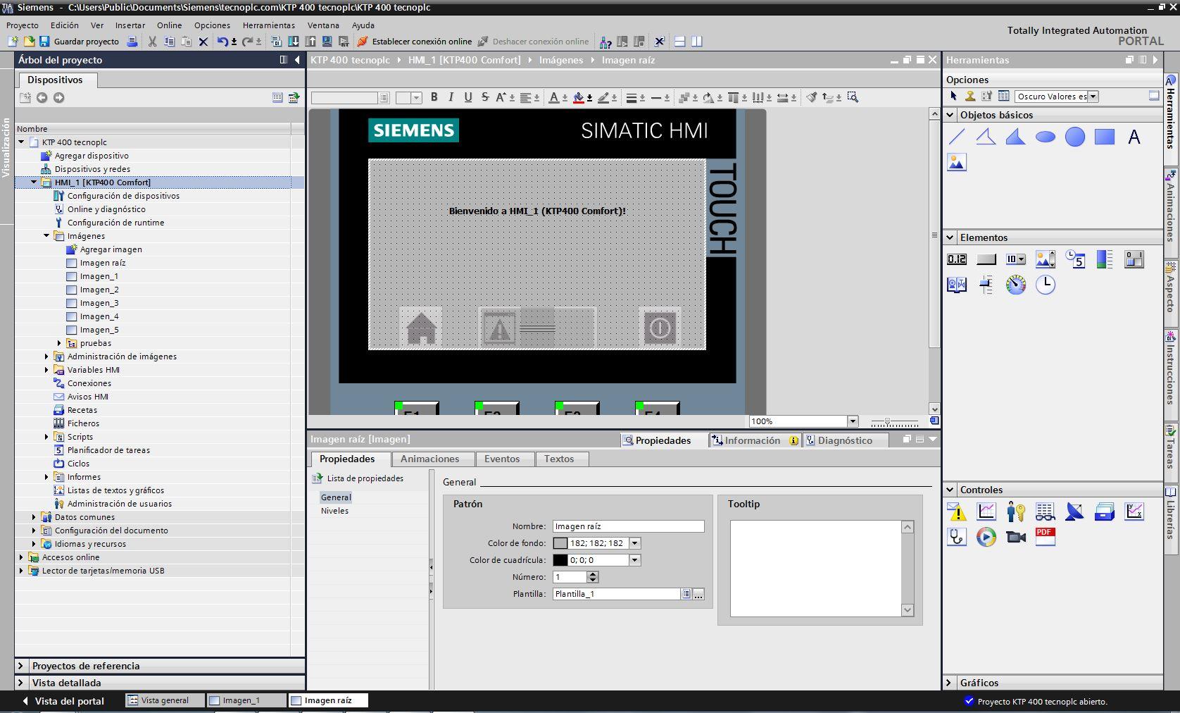 Interfaz WinCC Flexible después de crear el proyecto.
