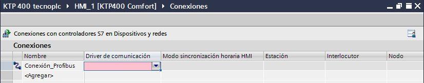 Establecer nombre a la conexión de Profibus entre HMI y PLC.