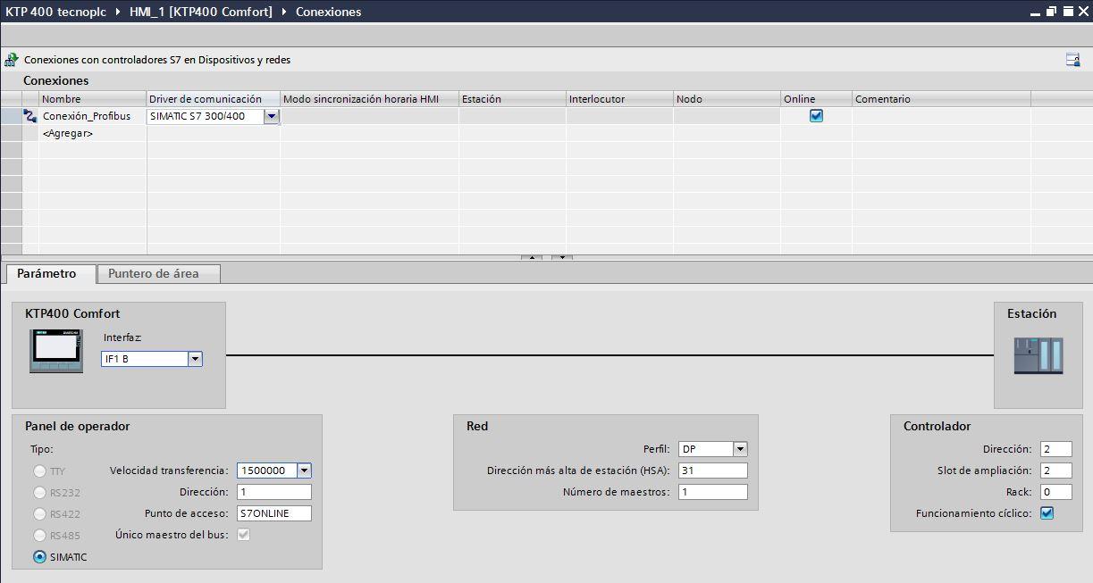 Parámetros para una comunicación Profibus entre HMI y PLC.
