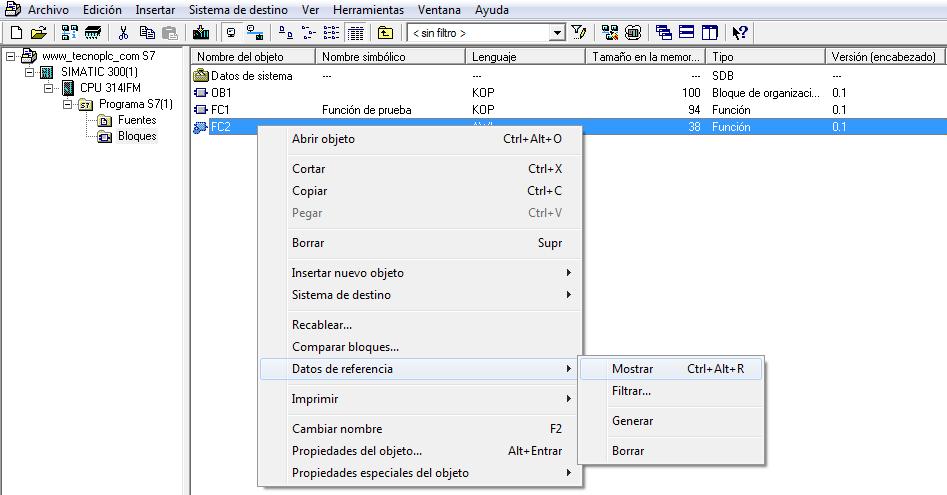 Cómo seleccionar las referencias cruzadas en el proyecto Step7.