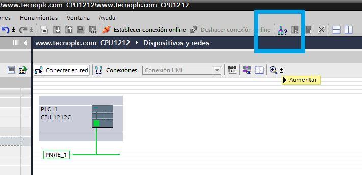Establecer comunicación PLC y TIA Portal.