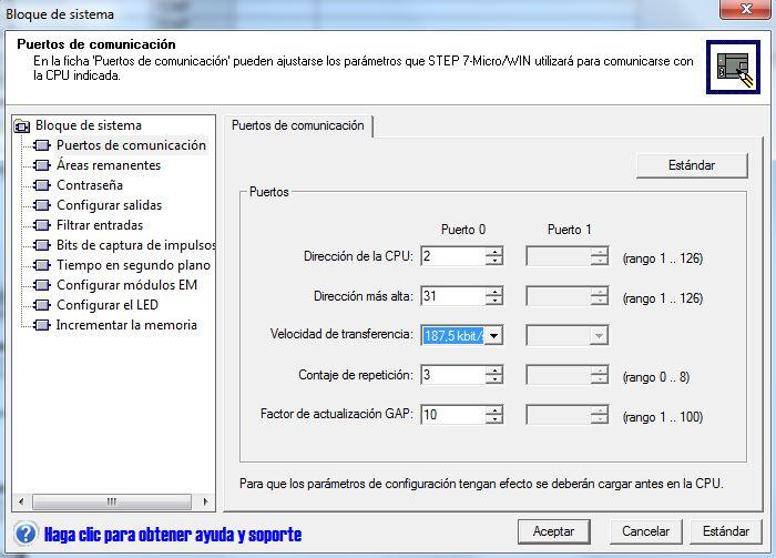Propiedades de la red MPI en el proyecto de MicroWin.