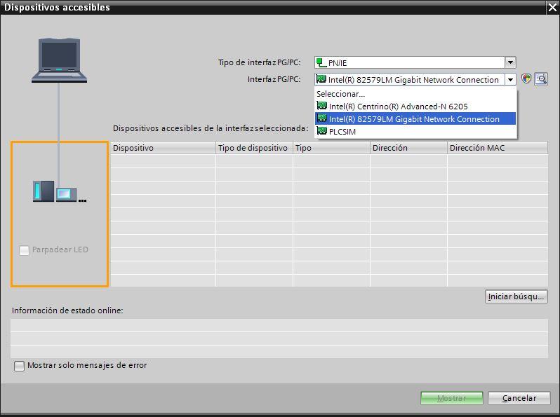 Seleccionar la tarjeta de red de nuestro PC con la que estamos trabajando.