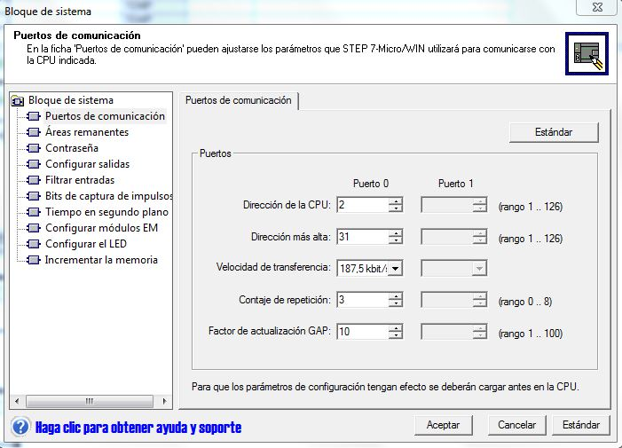 Seleccionar una velocidad para el S7-200 de 187,5 Kbits.