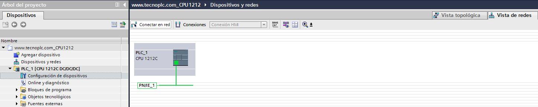 Tipo de red seleccionada para el proyecto TIA Portal.