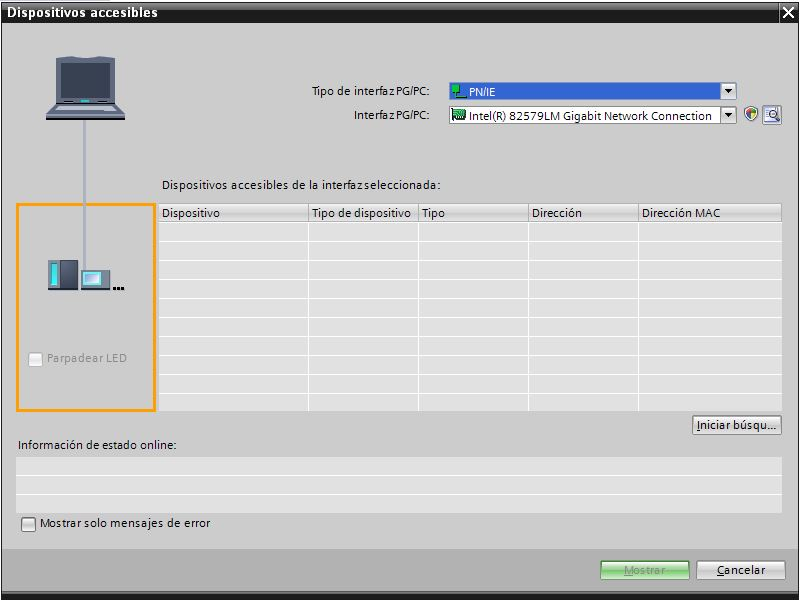 Ventana de dispositivos accesibles en la red Profinet desde TIA Portal.