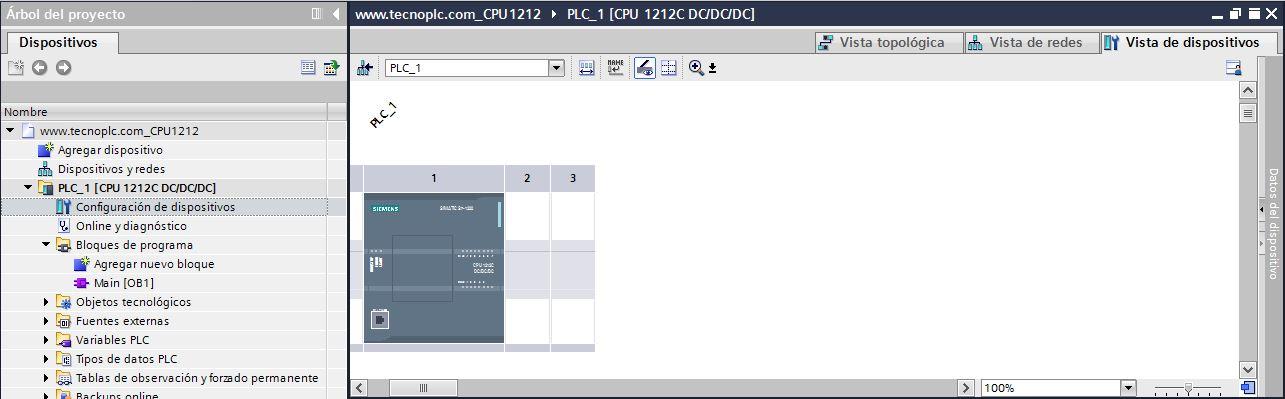 Vista de dispositivos para ver parámetros comunicación del PLC en la Red Profinet TIA Portal.