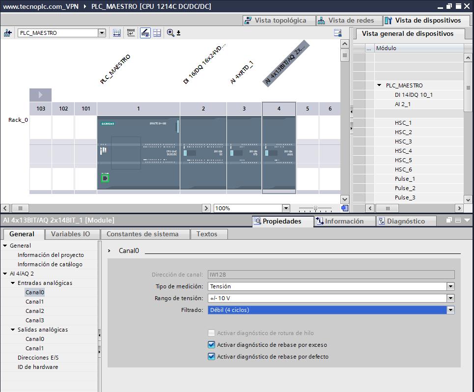 Configuración de entradas analógicas TIA Portal en tensión.