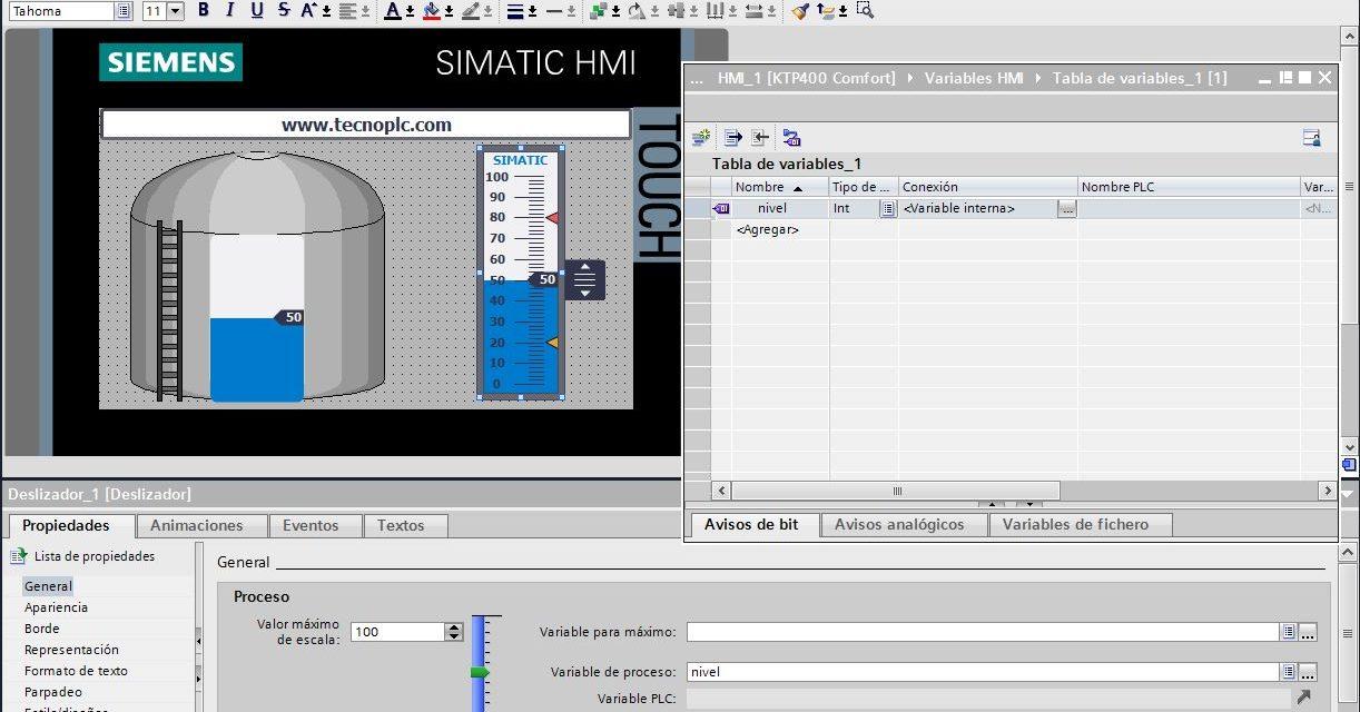 Depósito agua : simulación en pantalla TIA Portal