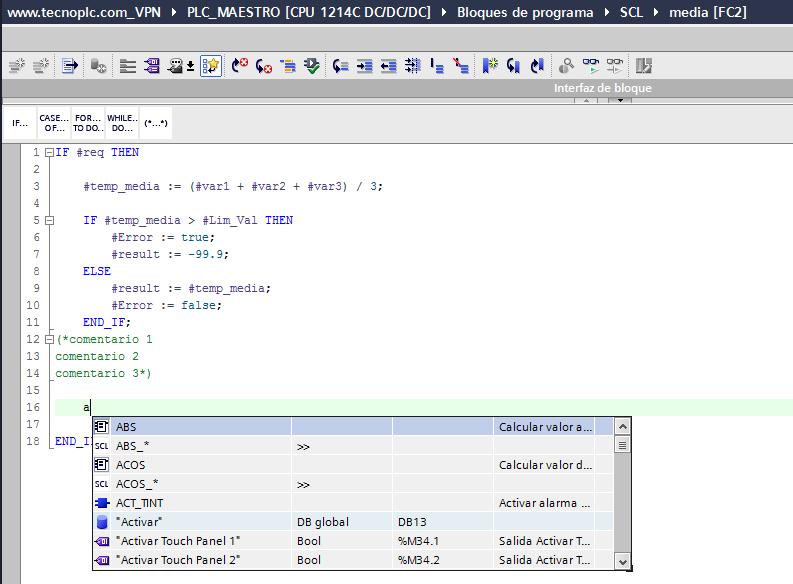 Detección automática de funciones y tags en SCL.