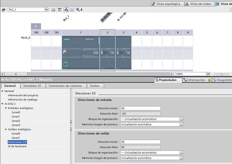 Direccionamiento de entradas analógicas TIA Portal en la pestaña configuración