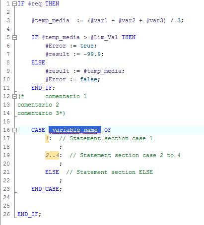 Fragmento de código del programa en SCL en TIA Portal.