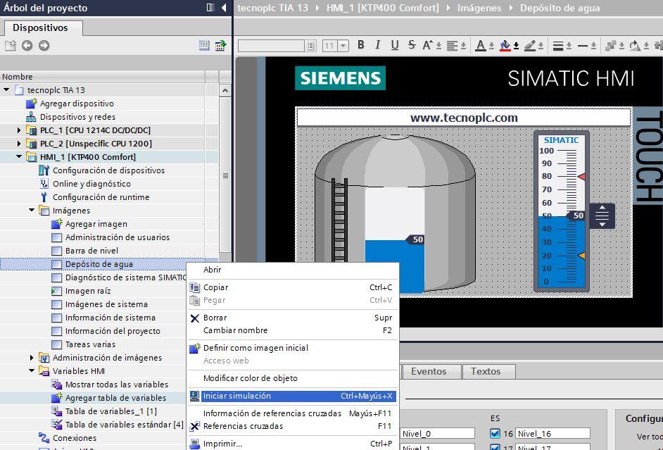 Iniciar simulación en TIA Portal.