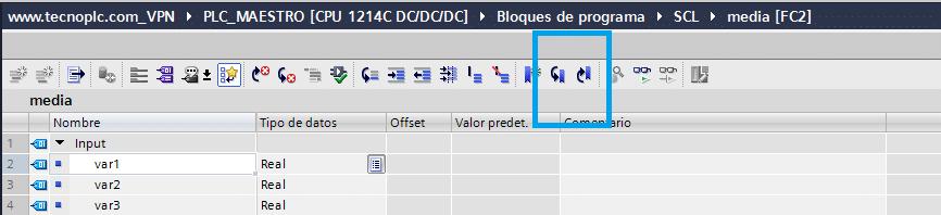 Marcadores dentro de la programación SCL.