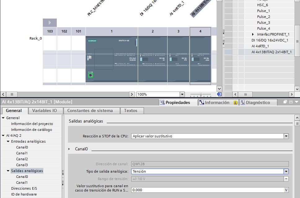 Salidas analógicas S7-1200 : configuración TIA Portal