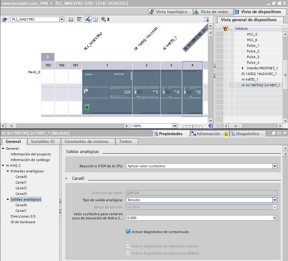 Propiedades del módulo analógico en proyecto TIA Portal.