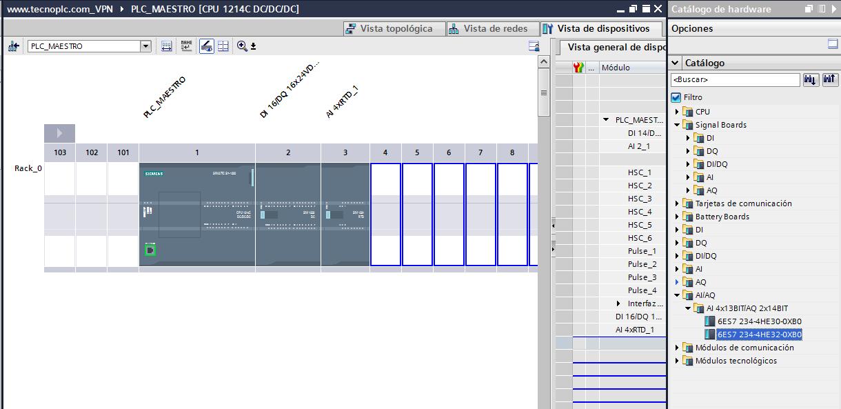 Seleccionar módulo de señal analógica S7-1200 en el catálogo.