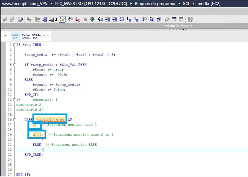 Sombreado de las constantes y variables de la instrucción CASE.